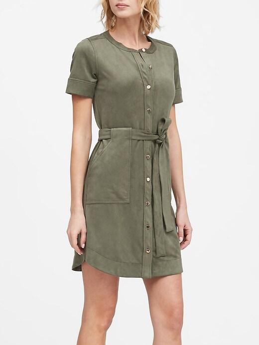 Vegan Suede Shirt Dress