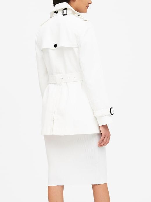 Petite Textured Short Trench Coat