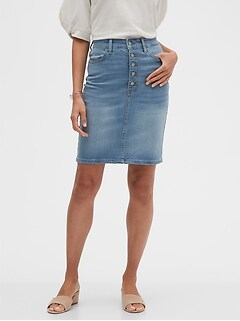 bananarepublic Button-Front Denim Pencil Skirt