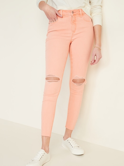High-Waisted Distressed Rockstar Pop-Color Super Skinny Jeans for Women