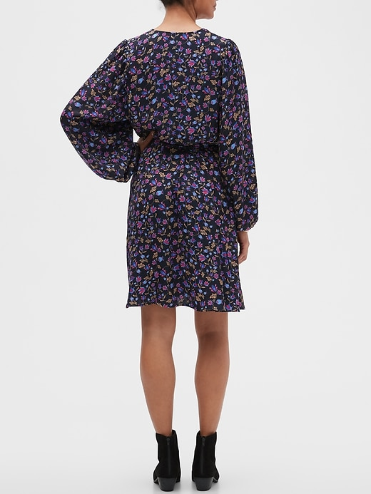 Petite Puff-Sleeve Fit-and-Flare Dress