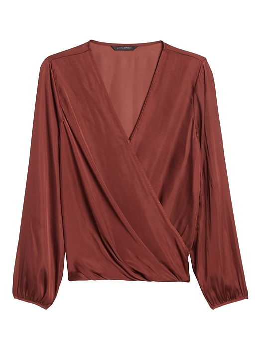 Soft Satin Wrap-Effect Top
