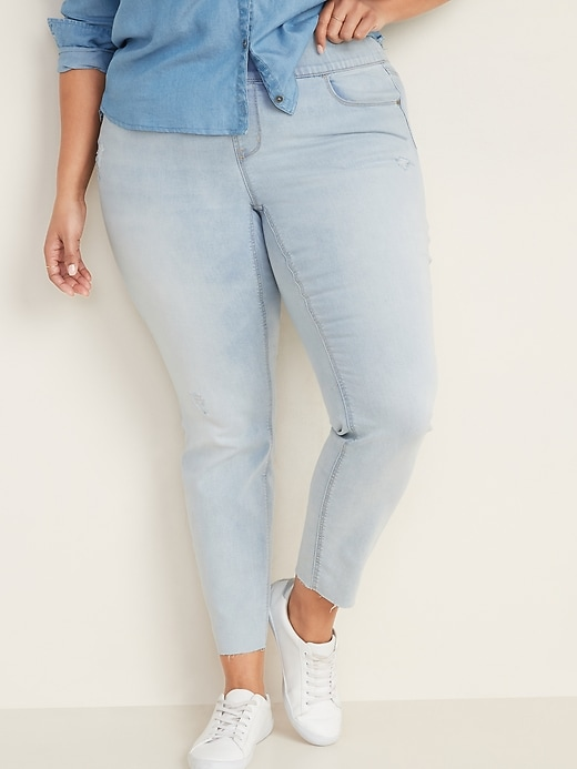 High-Waisted Distressed Rockstar Super Skinny Plus-Size Jeggings