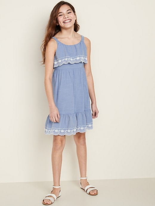 Embroidered Ruffle-Tiered Sundress for Girls