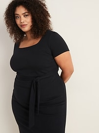 Ponte-Knit Secret-Slim Tie-Belt Plus-Size Sheath Dress