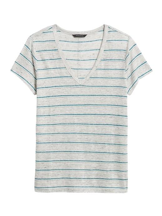 T-shirt en lin à rayures à col enV