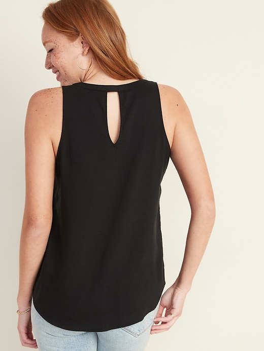 Twill Cut-Out Back V-Neck Tank Top for Women