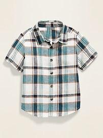 Linen-Blend Plaid Shirt for Toddler Boys
