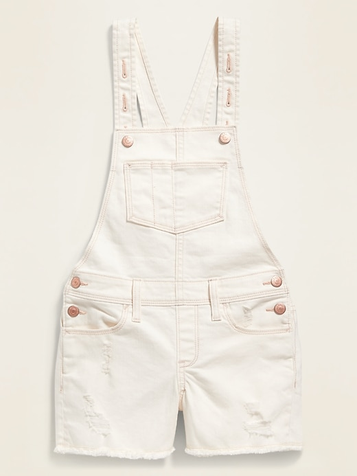 Pop-Color Frayed-Hem Jean Shortalls for Girls