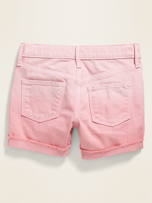 Pink Ombré Frayed-Cuff Jean Shorts for Girls
