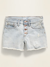 High-Waisted Button-Fly Distressed Frayed-Hem Jean Shorts for Girls