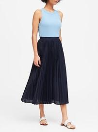 Pleated Poplin Midi Skirt