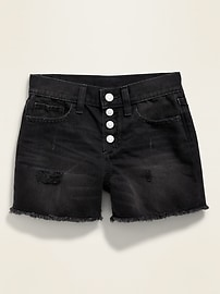 High-Waisted Button-Fly Distressed Jean Cutoffs for Girls