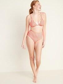 High-Waisted Striped Swim Bottoms for Women