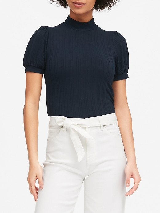 Petite Ribbed Puff-Sleeve T-Shirt