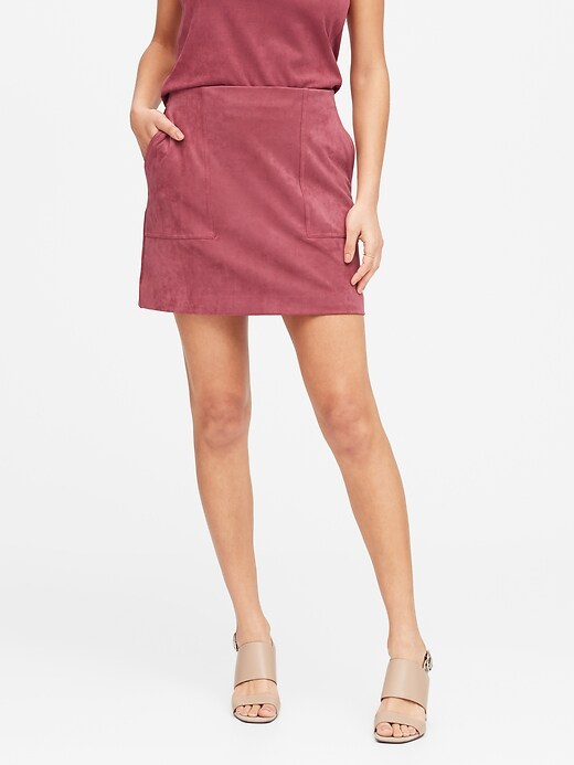Petite Vegan Suede Mini Skirt