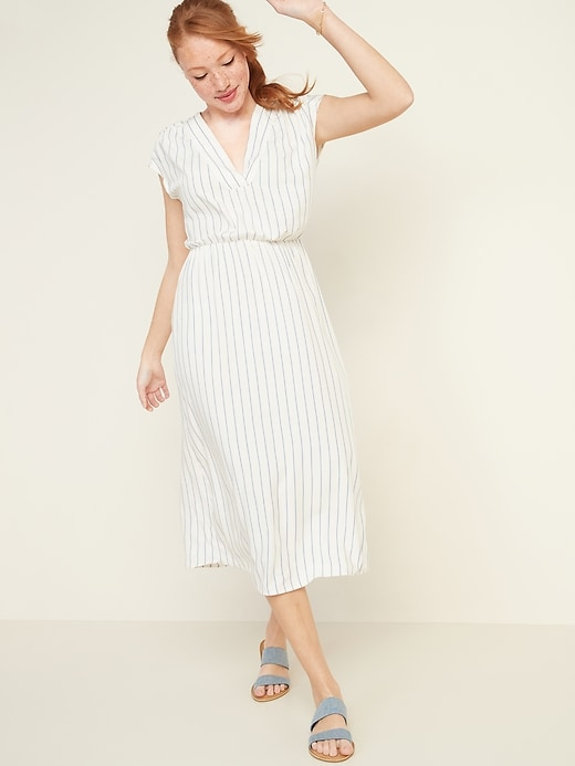 Waist-Defined Striped V-Neck Midi Dress for Women