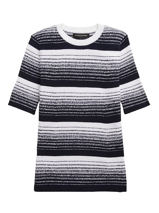 Stretch-Cotton Ribbed Sweater Top