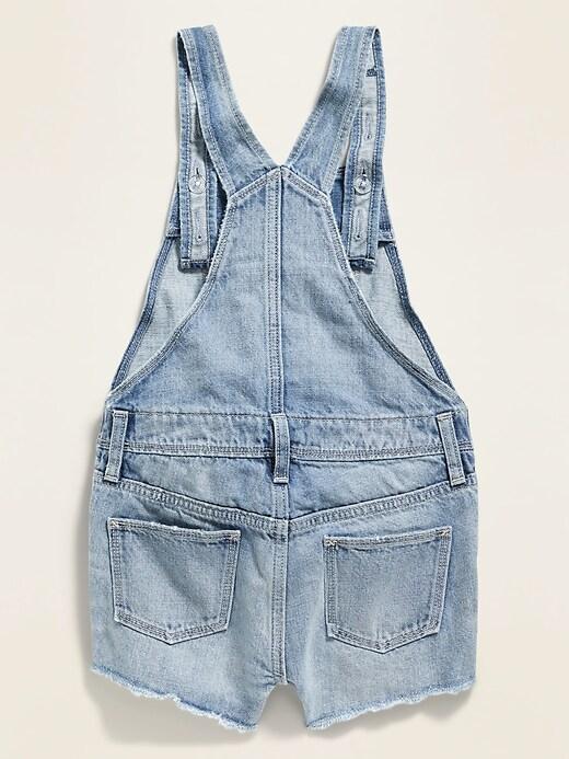 Light-Wash Exposed-Pocket Jean Shortalls for Girls