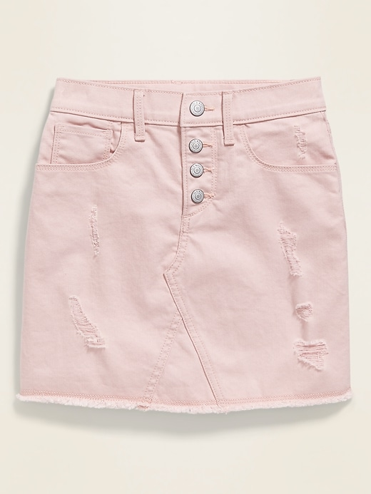 High-Waisted Button-Fly Frayed-Hem Pink Jean Skirt for Girls