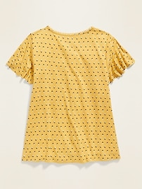 Ladder-Lace Pom-Pom Trim Jersey Top for Girls