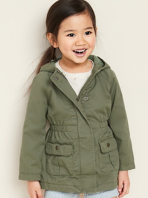 Hooded Twill Utility Scout Jacket for Toddler Girls