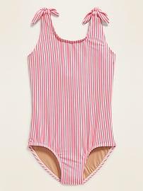 Textured Seersucker-Stripe Tie-Shoulder Swimsuit for Girls