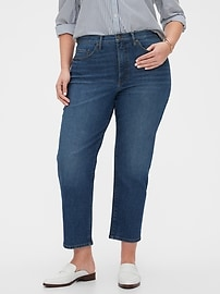 High-Rise Dark Wash Straight Crop Jean