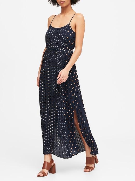 Petite Polka Dot Pleated Maxi Dress