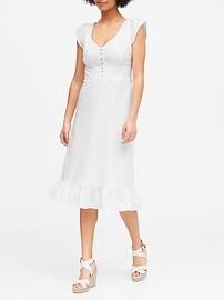 Petite Linen-Cotton Button-Front Midi Dress