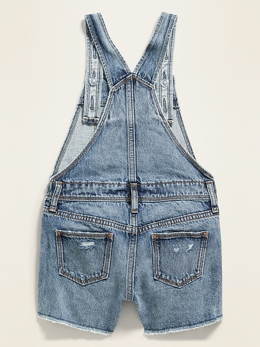 Medium-Wash Distressed Jean Shortalls for Girls