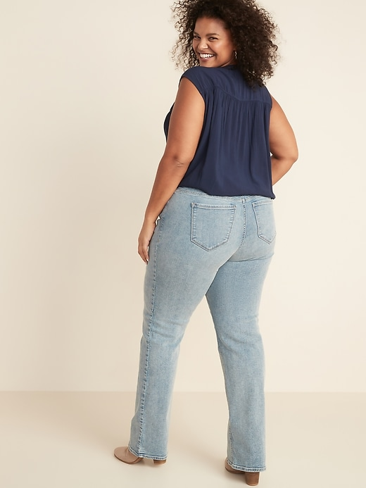 High-Waisted Plus-Size Pull-On Boot-Cut Jeans