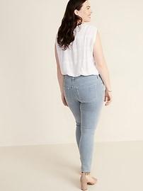 Mid-Rise Button-Fly Railroad-Stripe Rockstar Super Skinny Jeans for Women