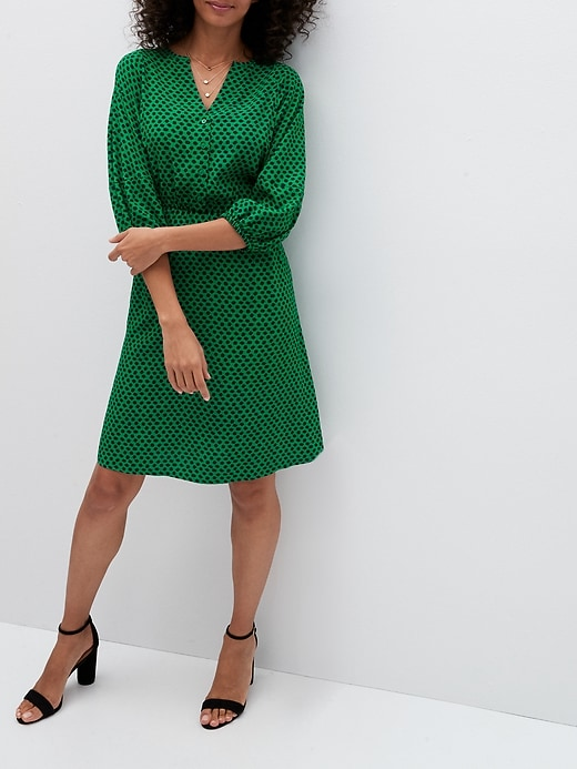 Balloon-Sleeve Fit-and-Flare Dress