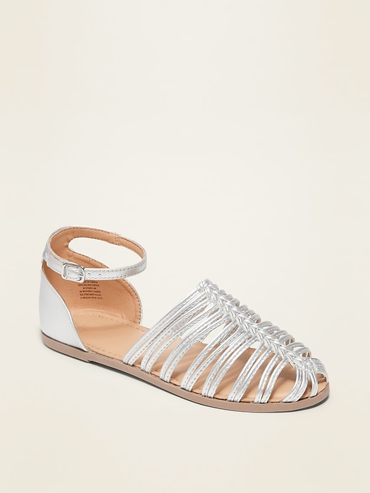 Caged Faux-Leather Sandals for Girls