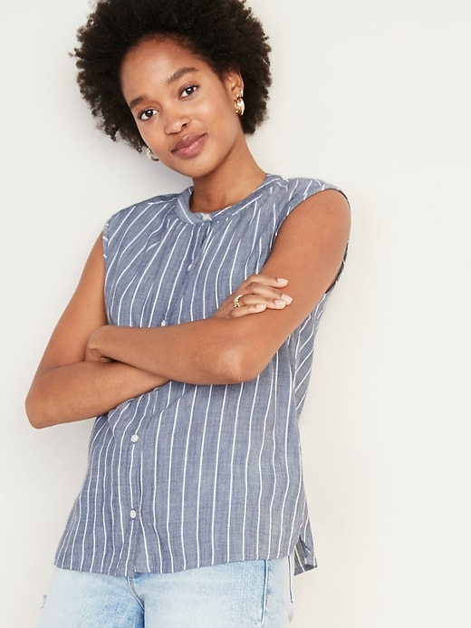 Striped Sleeveless Button-Front Cocoon Top for Women