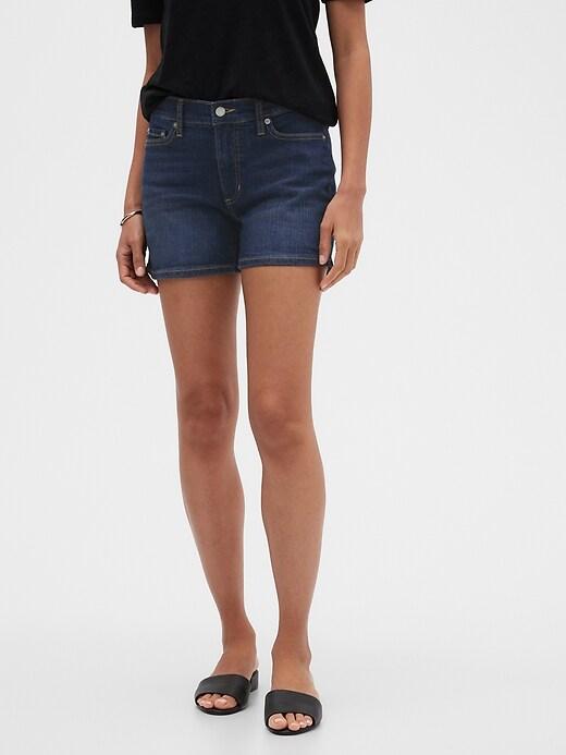 Petite Dark Wash Denim Shorts - 4 inch inseam