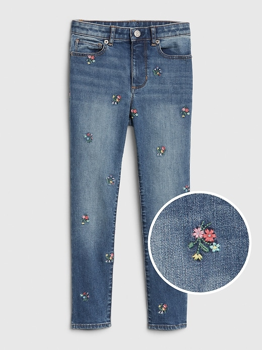 Kids High Rise Embroidered Jeggings with Stretch