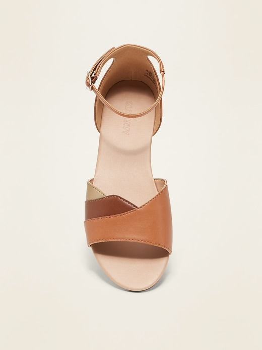 Color-Blocked Faux-Leather Sandals for Girls
