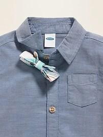 Bow-Tie Short-Sleeve Shirt & Khaki Pants Set for Baby