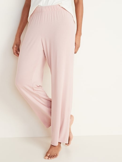 Straight Jersey-Knit Pajama Pants for Women