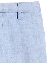 Petite Slim Wide-Leg Linen-Cotton Cropped Pant