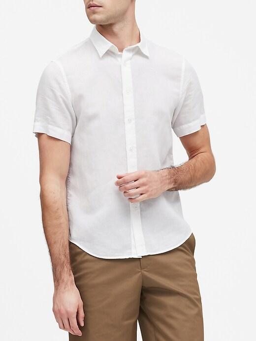 Slim-Fit Linen-Cotton Shirt