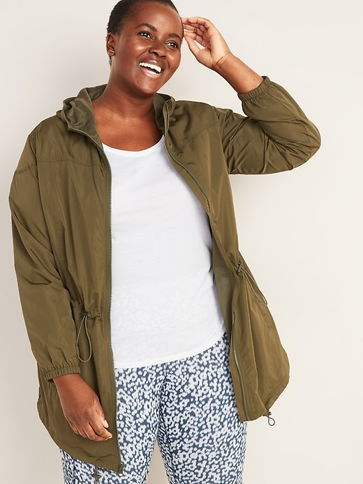 Go-H20 Water-Resistant Hooded Plus-Size Anorak