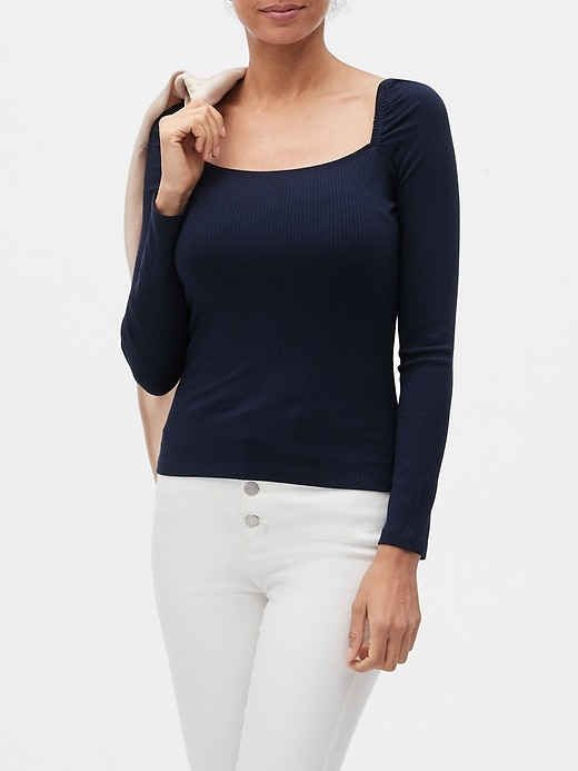 Ribbed Square-Neck Top