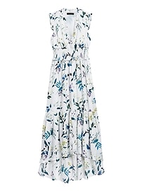 Petite Print Soft Satin Maxi Dress