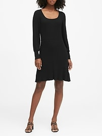 Ribbed Square-Neck Sweater Dress