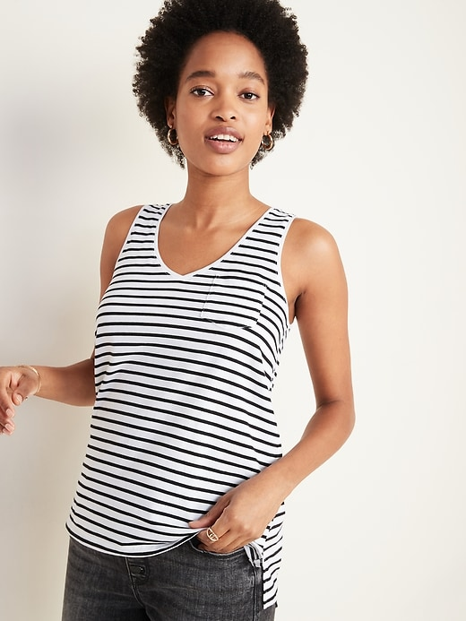 EveryWear Striped Chest-Pocket Tank Top for Women