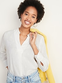 Embroidered Envelope Split-Neck Top for Women