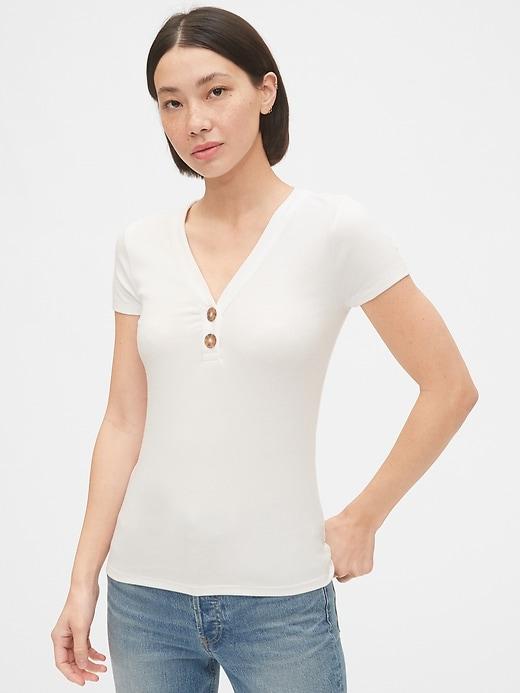 Ribbed Henley V-Neck T-Shirt